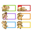 Polkadot labels with elephants vector image vector image
