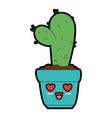 pot with desert plant kawaii character vector image