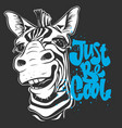 print with zebra images and text t-shirt design vector image vector image