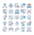 project management teamwork flat icons pack vector image vector image