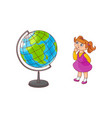 school girl with globe sphere map isolated on vector image vector image