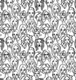 Seamless pattern of female doodle hand drawn vector image