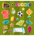 Set of sports soccer sticker symbols and icons vector image