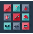 set retro fashion icons in flat design style vector image vector image