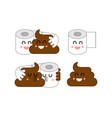 shit and paper set turd and toilet paper toilet vector image vector image