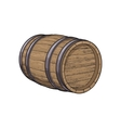 Side view of sketch style lying wooden barrel vector image vector image