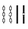 silhouettes of chains and ropes vector image vector image
