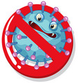 single virus cell with scary face on white vector image