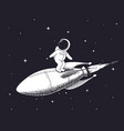 spaceman flies on rocket vector image vector image