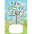 Stylized tree with rabbits - greeting card vector image vector image