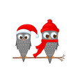 two owls on the branch in the santa claus hat and vector image vector image