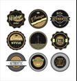 vintage labels black and brown set 1 vector image vector image