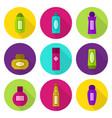 cosmetic bottles flat icon set vector image