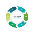 six step circle infographic vector image