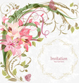 romantic invitation card with pink lily With love vector image