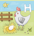 alphabet letter h and hen abc book