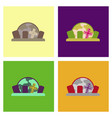 assembly flat icons halloween cemetery full moon vector image vector image