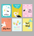 baby shower cards set newborn child invitation vector image