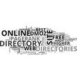 best online directories text word cloud concept vector image vector image