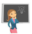 caucasian student thinking about creative idea