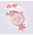 christmas card cute pig on snow or flying new vector image vector image