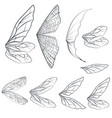 collection light wings design isolated on white vector image vector image