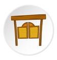 Cowboy door icon cartoon style vector image vector image