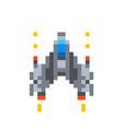 cute little spaceship game hero in pixel art vector image vector image