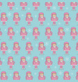 cute pink santa claus christmas seamless pattern vector image