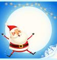cute santa claus jump - happy expression vector image