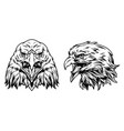 eagle heads front and side views vector image vector image