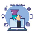 flat design digital marketing concept hand vector image
