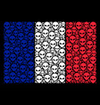 france flag mosaic of alien face icons vector image