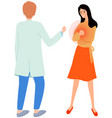 girl complains to physician about heart problem vector image