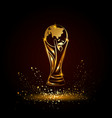 golden soccer trophy with globe vector image