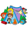 group of camping kids vector image