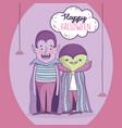 happy halloween celebration boy dracula monster vector image