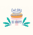 horizontal banner template with delicious cake or vector image