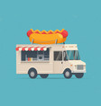 hot dog street food truck vector image vector image