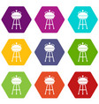 kettle barbecue icon set color hexahedron vector image vector image