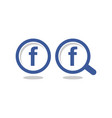 letter f blue circle magnify glass icon vector image vector image