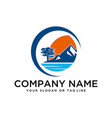 Logo design mountains rivers and sun template
