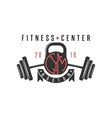 Logo gym hipster kettlebell and athletic barbell vector image vector image