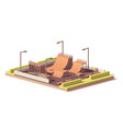 low poly skate park vector image