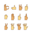 minimal lineart flat hand gestures iconset ok vector image