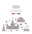 moscow travel tour poster in linear style vector image vector image