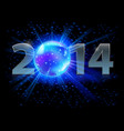 new year 2014 metal numerals with disco ball vector image vector image