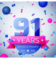 Ninety one years anniversary celebration on grey vector image vector image