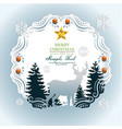 paper art christmas postcard with winter forest vector image