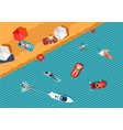 people relax on the beach and swimming in the sea vector image vector image